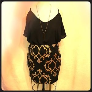 Black & Gold Mini Skirt